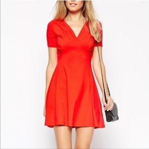 NWOT ASOS Red Ruched Bust Skater Dress, Size 4